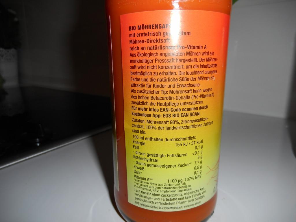 La composition du jus de carotte