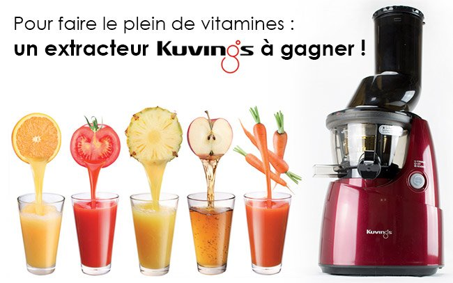 un extracteur de jus kuvings gagner vitaality jus de fruits frais maison jus de l gumes. Black Bedroom Furniture Sets. Home Design Ideas